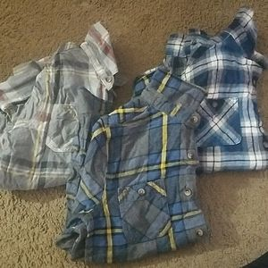 3 flannel boys shirts